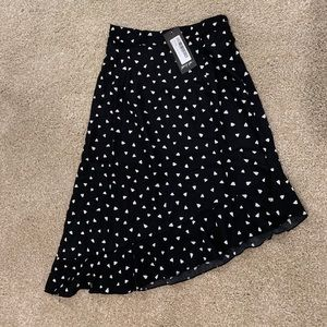 Black midi Skirt with white hearts